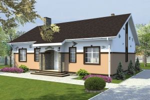 Одноэтажный дом с мансардой 92 м2