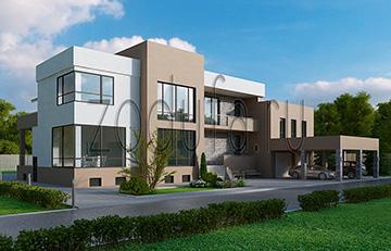 Проект дома с плоской крышей 1000м2